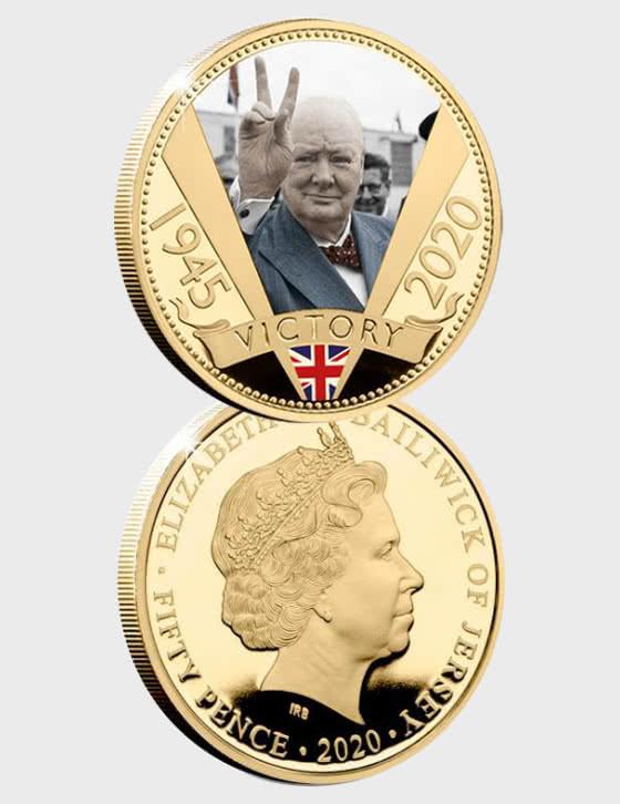 Die vergoldete Münze zum 75-jährigen Jubiläum von VE Day - Einzelne Münze