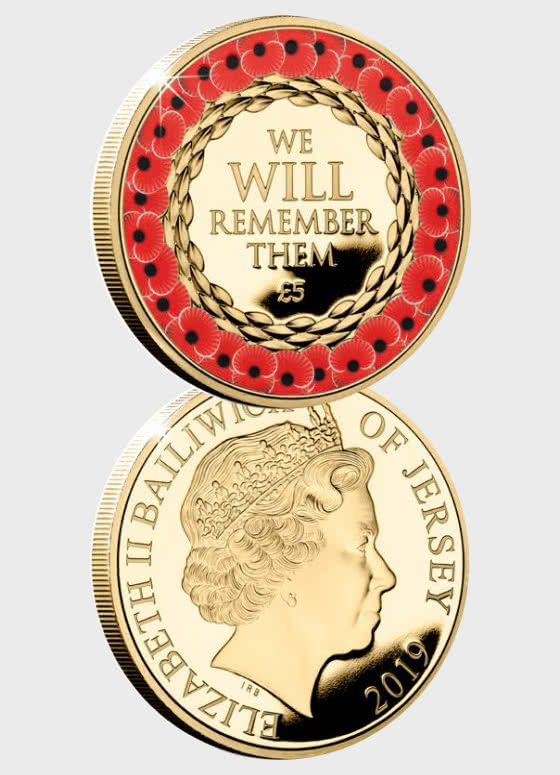 JERSEY - Remembrance Poppy CuNi Proof £5 Coin - Single Coin