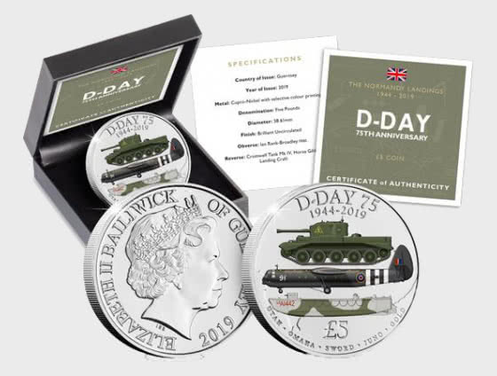 GUERNSEY - The D-Day 75th Anniversary Five Pound Coin - Single Coin