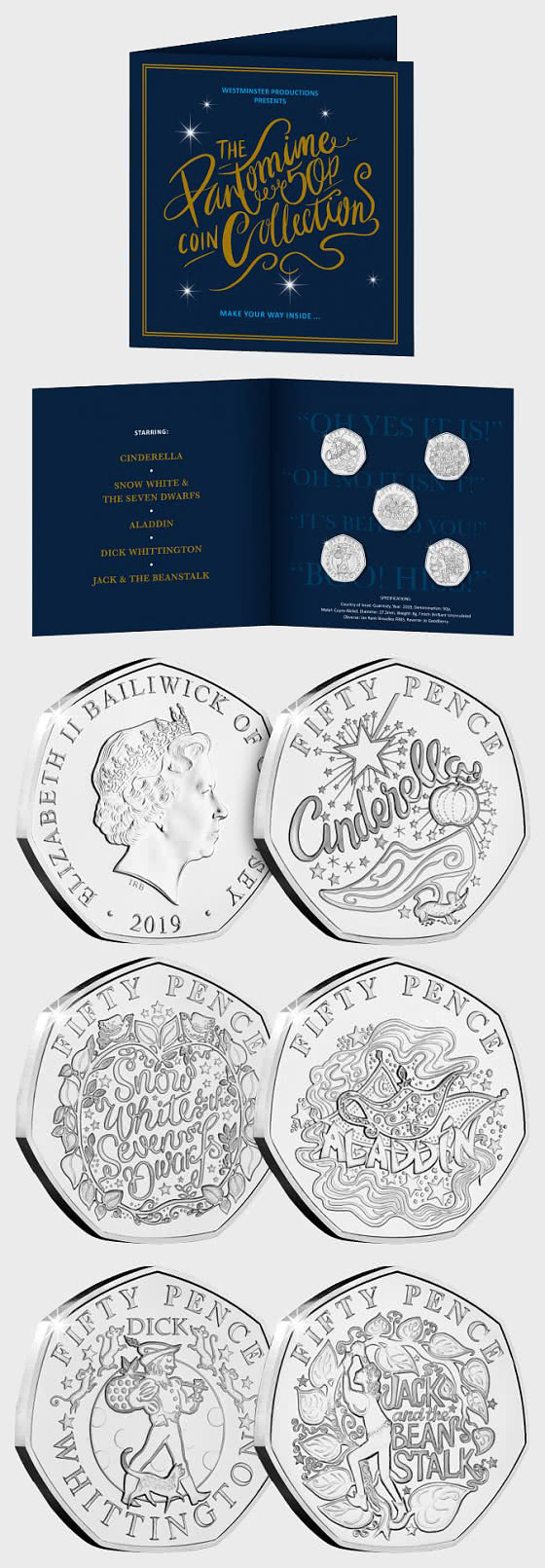 GUERNSEY - The Christmas Pantomime 50p Coin Set - Commemorative