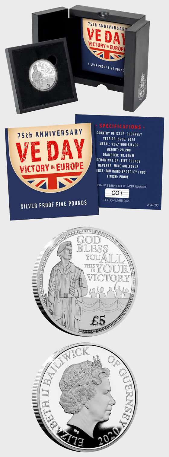 GUERNSEY - 75th Anniversary of VE Day Silver £5 Coin - Silver Coin