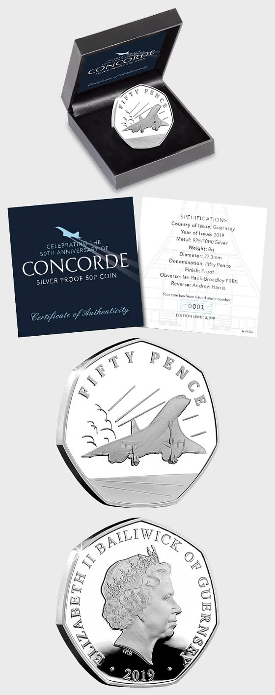 GUERNSEY - 50th Anniversary Of Concorde Silver Proof 50p - Silver Coin