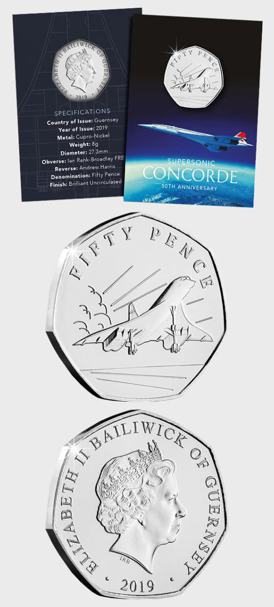GUERNSEY - The 50th Anniversary of Concorde 50p Coin - Single Coin