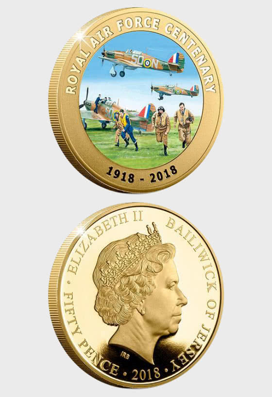 JERSEY - Official RAF Centenary Gold-Plated Coin - Single Coin