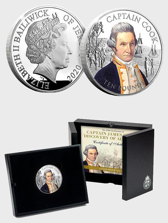 JERSEY - Captain Cook Silver 5oz Coin - Silbermünze