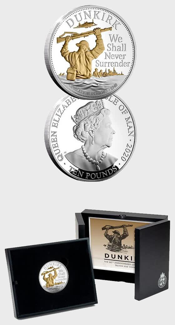 ISLE OF MAN - Dunkirk 80th Anniversary Silver 5oz Coin - Silver Coin