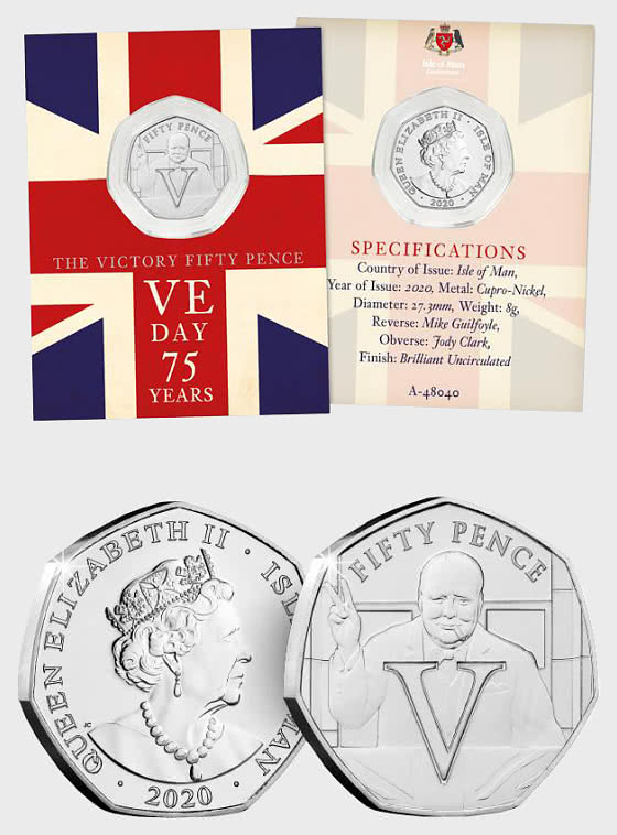 ISLE OF MAN - VE Day 75th Anniversary BU 50p - Single Coin