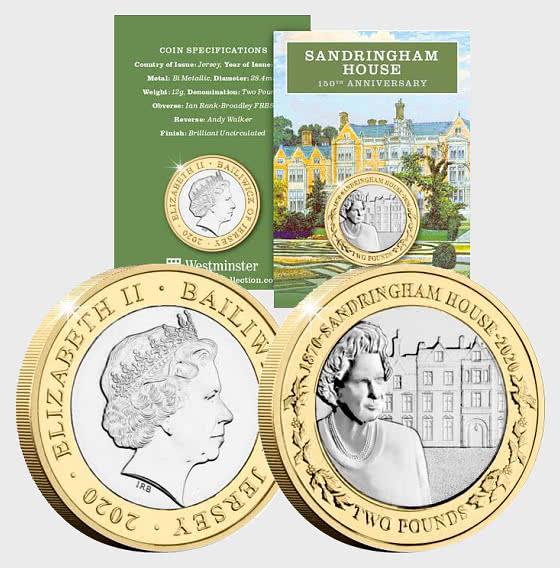 JERSEY - 2020 Sandringham House 150th Anniversary BU £2 - Single Coin