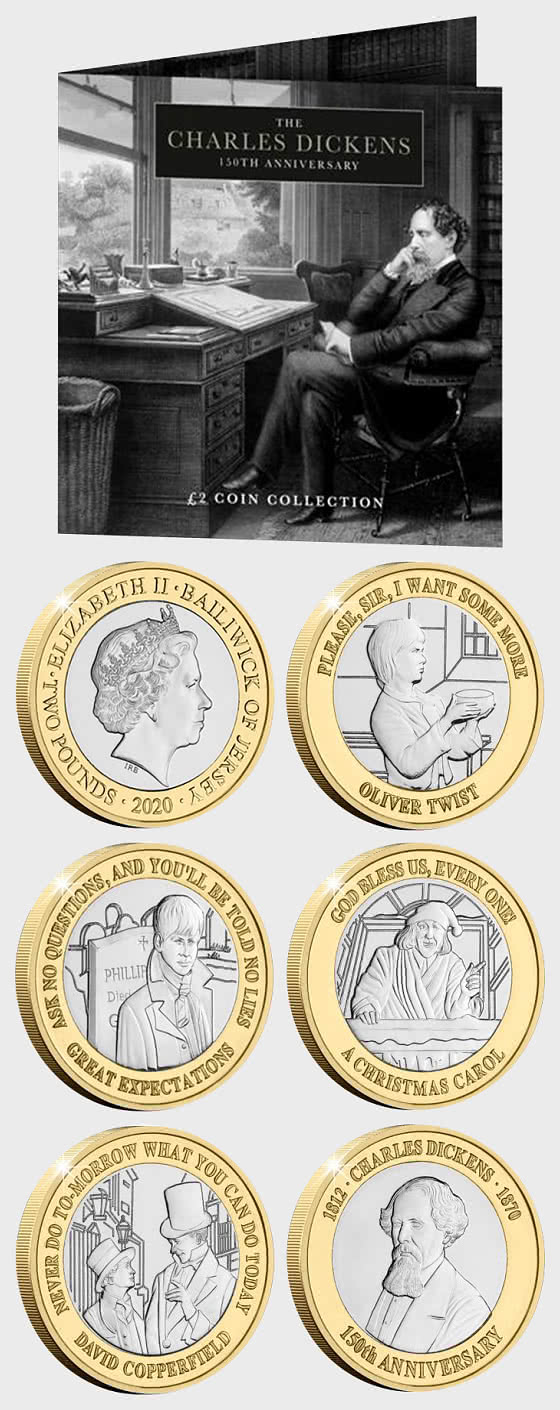 JERSEY - Charles Dickens 150th Anniversary BU £2 Set - Commemorative