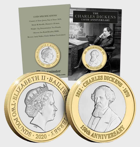 JERSEY - Charles Dickens 150th Anniversary BU £2 - Single Coin