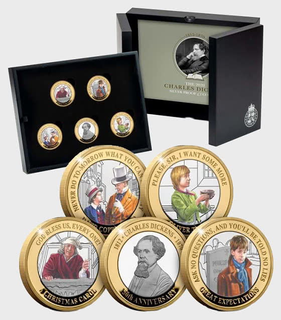 JERSEY - Charles Dickens 150th Anniversary BU £2 - Coloured Set - Coin Card
