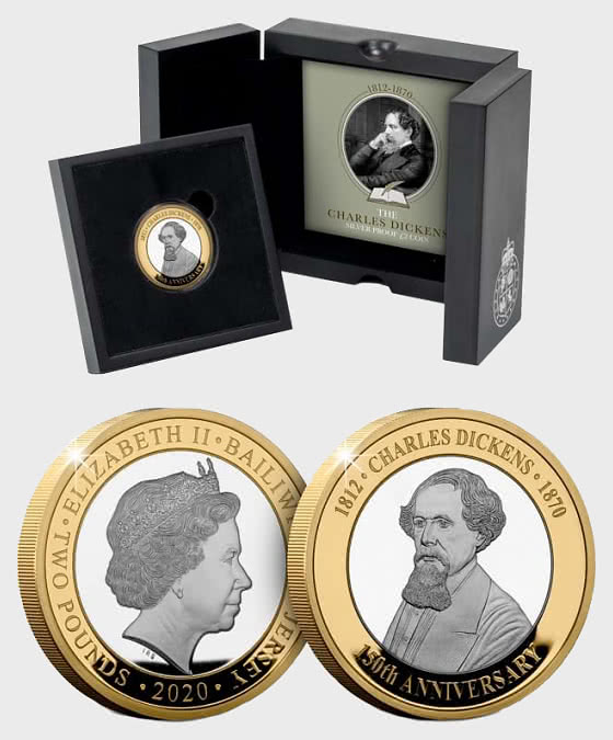 JERSEY - Charles Dickens 150th Anniversary BU £2 - Gold Plated - Single Coin