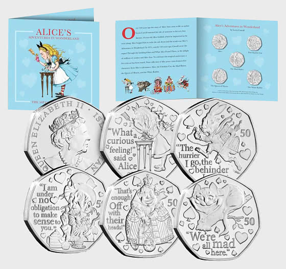 ISLE OF MAN - Alice's Adventures in Wonderland BU 50p Set - Coin Card