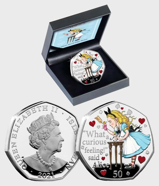 ISLE OF MAN - Alice's Adventures in Wonderland Silver 50p - Silver Coin