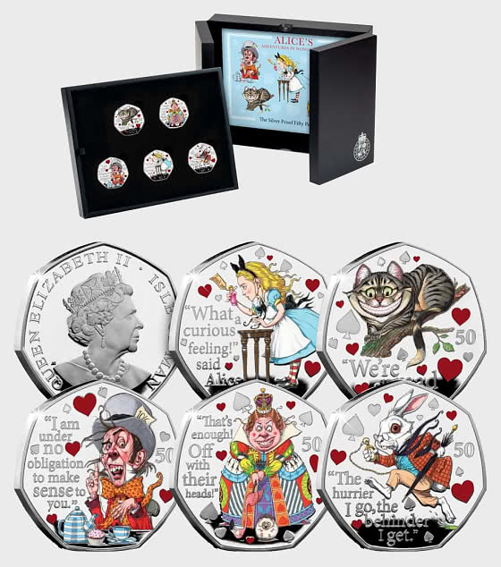 ISLE OF MAN - Alice's Adventures in Wonderland Silver 50p Set - Silver Coin