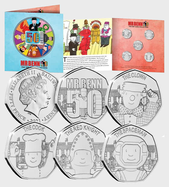 GUERNSEY - Mr Benn 50th Anniversary BU 50p Coin Set - Commemorative