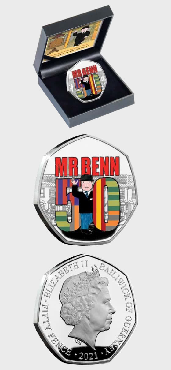 GUERNSEY - Mr Benn 50th Anniversary Silver Proof 50p Coin - Silver Coin