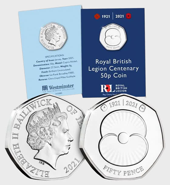 JERSEY - The RBL Centenary Brilliant Uncirculated 50p - Single Coin