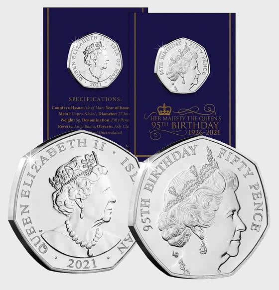 ISLE OF MAN - QEII 95th Birthday BU 50p Single - Single Coin