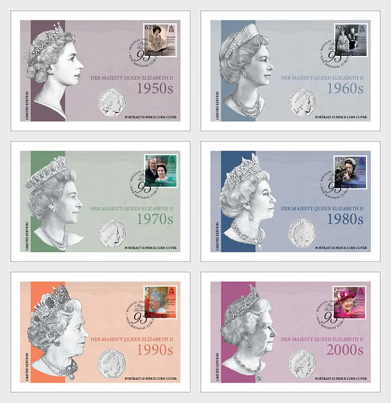ISLE OF MAN - The QEII 95th Birthday BU 50p Cover Collection - Coin Card