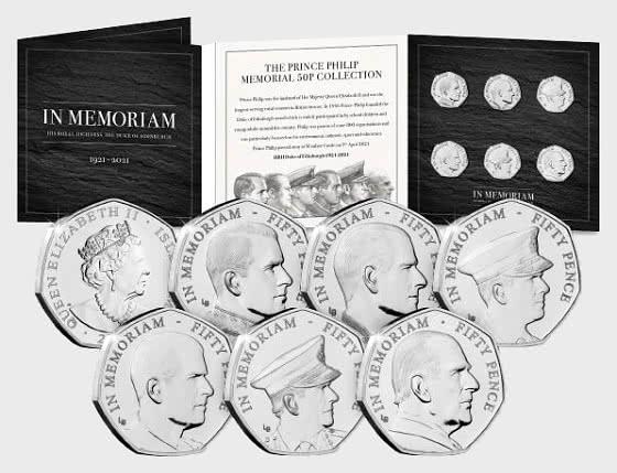 ISLE OF MAN - The Prince Philip Memorial BU 50p Set - Coin Card