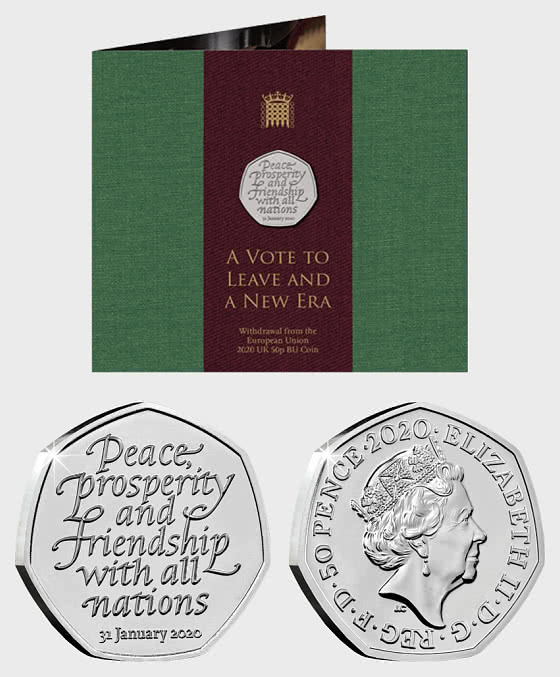 UK 2020 Withdrawal from the EU 50p BU Pack - Coin Card